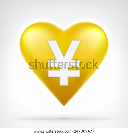 Yuan coin shaped as golden heart at modern graphic design isolated vector illustration on white background  - stock vector