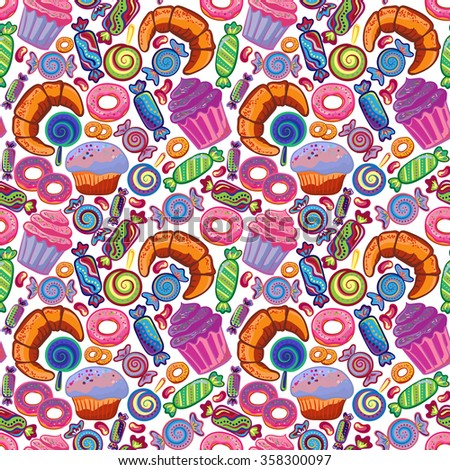 Yummy colorful sweet lollipop, candy, donuts, cupcake, dessert, croissant, bagel seamless pattern. Vector background. - stock vector
