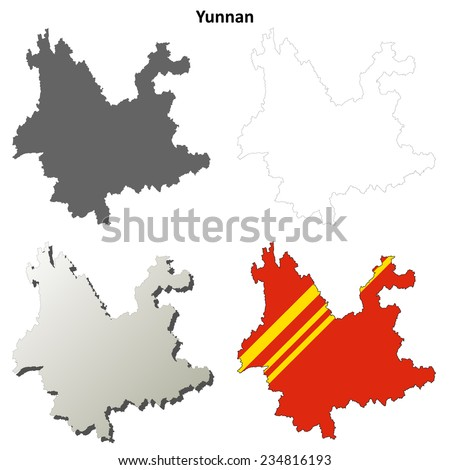 Yunnan blank outline map set - stock vector