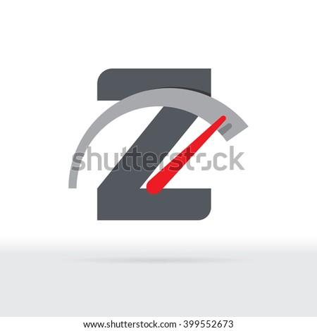 Z Letter Car Speedometer, B Letter Meter Logo - stock vector