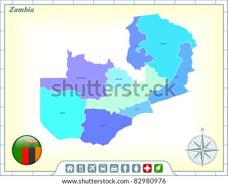 Zambia Map with Flag Buttons and Assistance & Activates Icons Original Illustration - stock vector