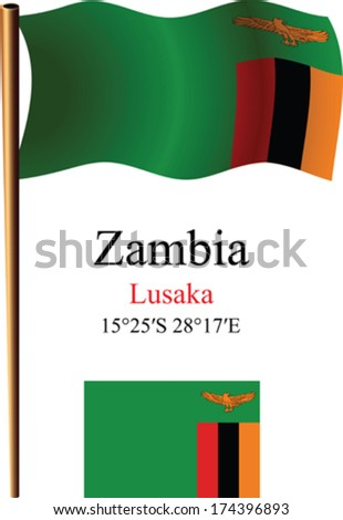 zambia wavy flag and coordinates against white background, vector art illustration, image contains transparency - stock vector