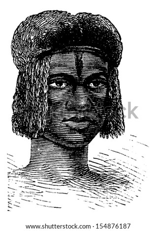Zambo Female from Africa, engraving based on the English edition, vintage illustration. Le Tour du Monde, Travel Journal, 1881 - stock vector