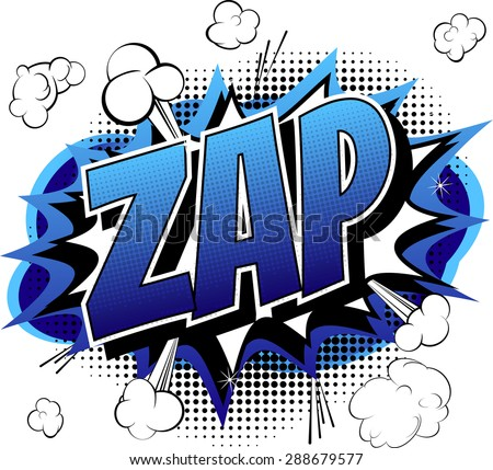 Zap - Comic book, cartoon expression isolated on white background. - stock vector