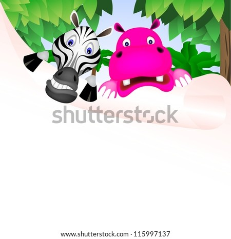 zebra and hippo with big paper vector of illustration - stock vector