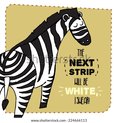 Zebra hand drawn illustration. Vector illustration. Can be used for your design, cards, magnets etc. - stock vector