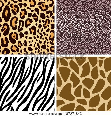 Zebra, leopard, snake, giraffe skin seamless pattern collection - stock vector