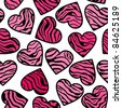 Zebra print pink hearts. Seamless background - stock vector