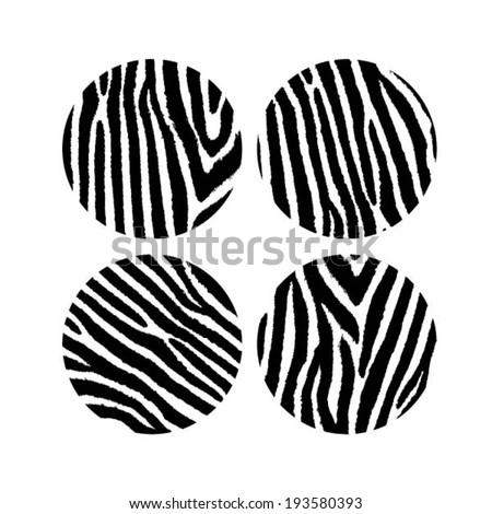 Zebra skin round icons, design element, tribal pattern, animal background, vector illustration - stock vector