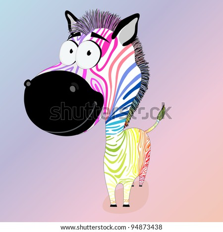 Zebra with colorful stripes - stock vector