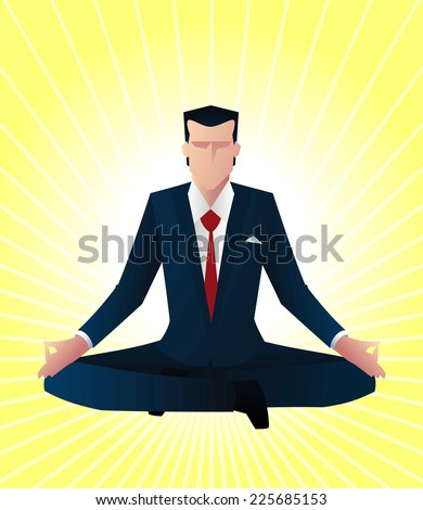 Zen business man guru vector illustration - stock vector
