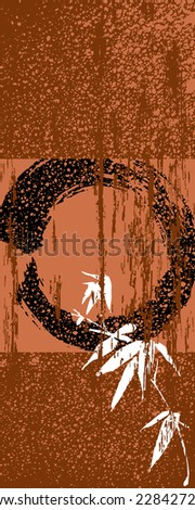 Zen circle and bamboo silhouette over vintage texture poster background. EPS10 vector file organized in layers for easy editing. - stock vector