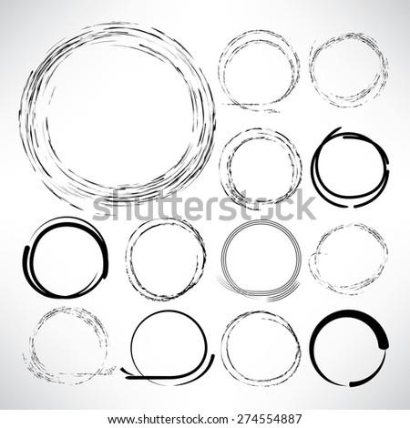 zen circles, hand drawn circle set - stock vector