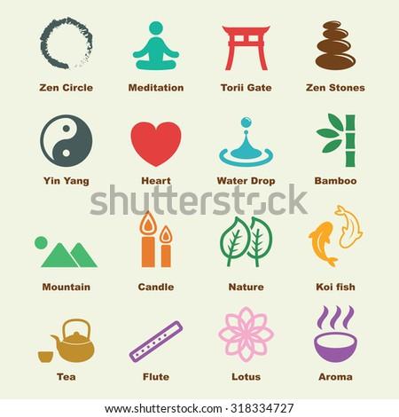 zen elements, vector infographic icons - stock vector