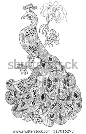 Zen tangle stylized peacock. Hand drawn boho doodle vector illustration. Sketch for tattoo or coloring. Bird collection. - stock vector