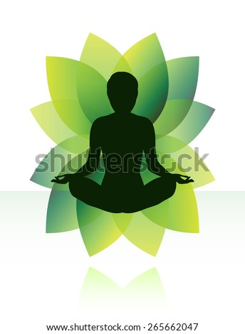 Zen yoga meditation silhouette in lotus pose. - stock vector
