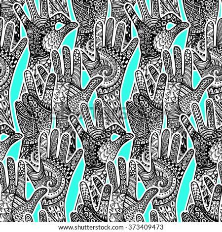 Zentandle gestures hands seamless pattern. Hand drawn vector doodle illustration. - stock vector