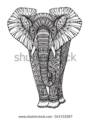 Zentangle animal. Stylized fantasy patterned elephant. Hand drawn vector illustration with traditional oriental floral elements  isolated on white background. - stock vector