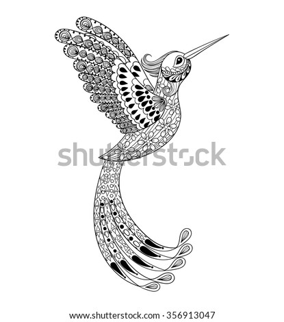 Zentangle hand drawn artistically Hummingbird, flying bird tribal totem for adult Coloring Page or tattoo, t-shirt and postcard with high details illustration. Vector monochrome sketch of exotic bird. - stock vector