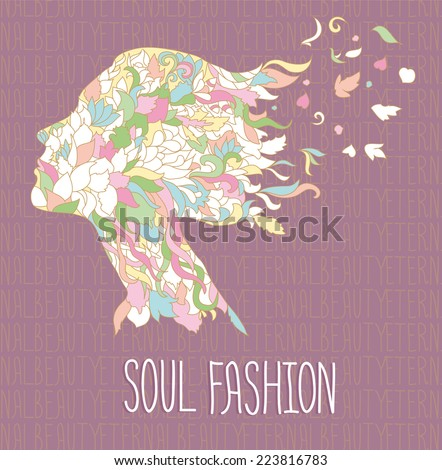 Zentangle inspired doodle vector poster/illustration/card named «Beauty of peaceful soul space» made to express dreamy mood palette - stock vector