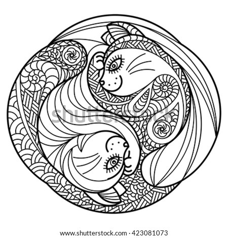 Zentangle of hugging cats. Editable vector monochrome illustration. - stock vector