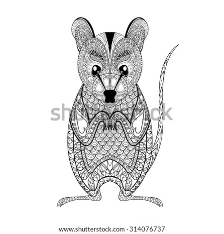 Zentangle Possum totem for adult anti stress Coloring Page for art therapy, illustration in doodle style. Vector monochrome sketch with high details isolated on white background - stock vector