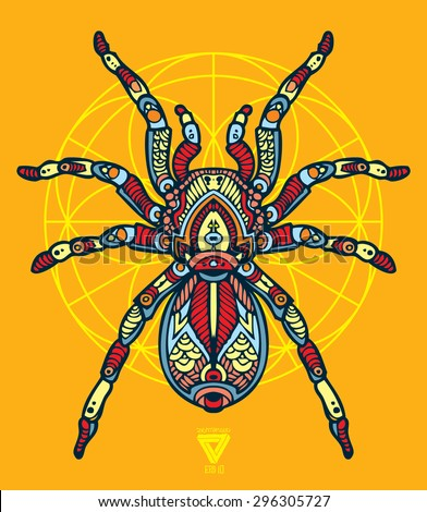 zentangle sacred geometry lineart vector tarantula - stock vector