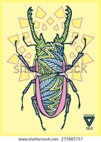 zentangle sacredgeometry vector bug - stock vector
