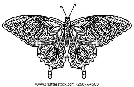 zentangle style butterfly vector - stock vector