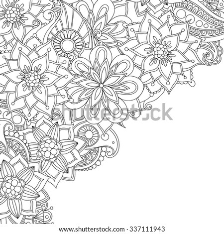 Zentangle style flowers invitation card. Decorative abstract element border. - stock vector