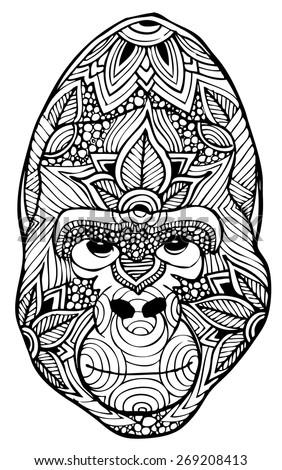 zentangle style gorilla vector - stock vector