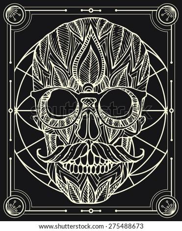 zentangle style hipster skull vector in frame - stock vector