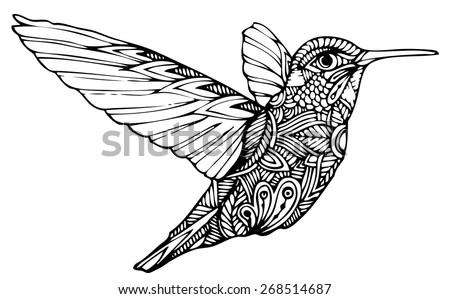 Zentangle style hummingbird vector - stock vector