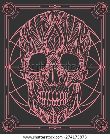 zentangle style skull vector in frame - stock vector