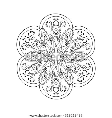 Zentangle stylized Arabic, Indian Mandala for adult anti-stress coloring pages. Hand drawn vintage Ornament Pattern on white background. Ethnic decorative elements. Yoga spirit. - stock vector