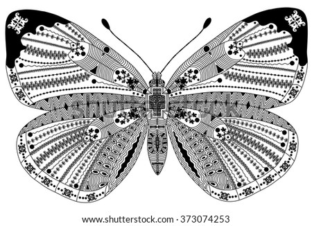 Zentangle stylized black butterfly . Hand Drawn vector illustration. Coloring books or tattoos with high details isolated on black background. Collection of insects. - stock vector