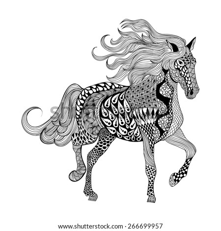 Zentangle stylized Black Horse. Hand Drawn doodle vector illustration. Sketch for tattoo or makhenda. Animal collection. - stock vector
