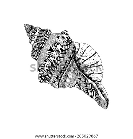 Zentangle stylized black sea cockleshell. Hand Drawn aquatic doodle vector illustration. Sketch for tattoo or makhenda. Seashell collection. Ocean life. - stock vector