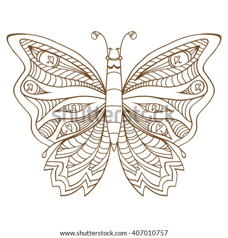 Zentangle stylized butterfly. Brown white hand drawn doodle animal. Ethnic patterned vector illustration. African, indian, totem tribal design. Sketch for coloring page - stock vector