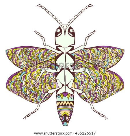 Zentangle stylized cartoon beetle insect, isolated on white background. Sketch for adult antistress coloring page. Hand drawn doodle, zentangle, floral design elements for coloring book. - stock vector