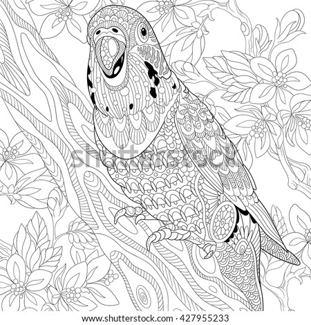 Zentangle stylized cartoon budgie parrot among cherry blossom. Hand drawn sketch for adult anti stress coloring page, T-shirt emblem, logo or tattoo with doodle, zentangle, floral design elements. - stock vector