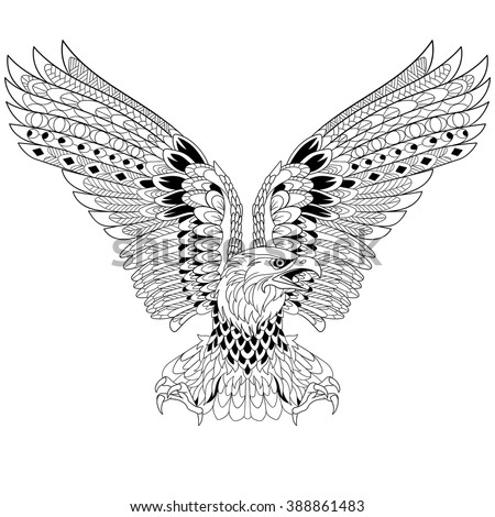 Zentangle stylized cartoon eagle, isolated on white background. Sketch for adult antistress coloring page. Hand drawn doodle, zentangle, floral design elements for coloring book. - stock vector