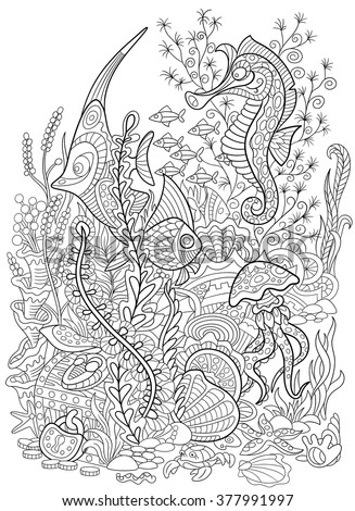 Zentangle stylized cartoon fish, seahorse, jellyfish, crab, shellfish and starfish  isolated on white background. Hand drawn sketch for adult antistress coloring page. - stock vector