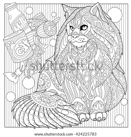 Zentangle stylized cartoon maine coon with cat food. Hand drawn sketch for adult antistress coloring page, T-shirt emblem, logo or tattoo with doodle, zentangle, floral design elements. - stock vector