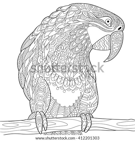 Zentangle stylized cartoon parrot macaw, isolated on white background. Hand drawn sketch for adult antistress coloring page, T-shirt emblem, logo, tattoo with doodle, zentangle, floral design elements - stock vector