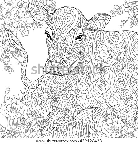 Zentangle stylized cartoon pasturing cow, flower blossom, grass field. Hand drawn sketch for adult antistress coloring book page, T-shirt emblem, tattoo with doodle, zentangle, floral design elements. - stock vector