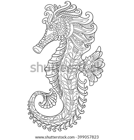 Zentangle stylized cartoon seahorse, isolated on white background. Hand drawn sketch for adult antistress coloring page, T-shirt emblem, logo or tattoo with doodle, zentangle, floral design elements. - stock vector