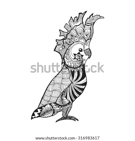 Zentangle stylized cockatoo parrot. Birds. Black white hand drawn doodle. Ethnic patterned vector illustration. African, indian, totem, tribal design. Sketch for tattoo, poster, print or t-shirt. - stock vector