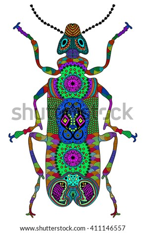 Zentangle stylized color beetle. Hand Drawn vector illustration. Books or tattoos with high details isolated on white background. Collection of insects. - stock vector