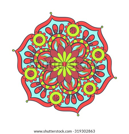 Zentangle stylized elegant color Mandala for coloring page. Hand drawn vintage ornament round Pattern on white background. Ethnic decorative elements. Yoga spirit. - stock vector